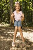 Girl swinging on swing. — Stock Photo