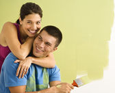 Attractive couple painting. — Stock Photo