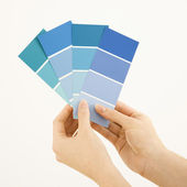 Woman holding paint swatches. — Stock Photo