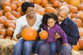 Family at Halloween. — Stock Photo