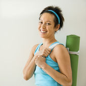 Woman going to workout — Stock Photo