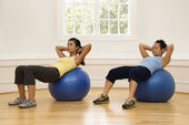 Women doing ab workout — Stock Photo