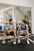 Socializing at gym — Stock Photo