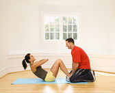Abdominal exercise — Stock Photo