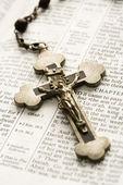 Crucifix on Bible. — Stock Photo