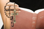Woman reading Bible. — Stock Photo