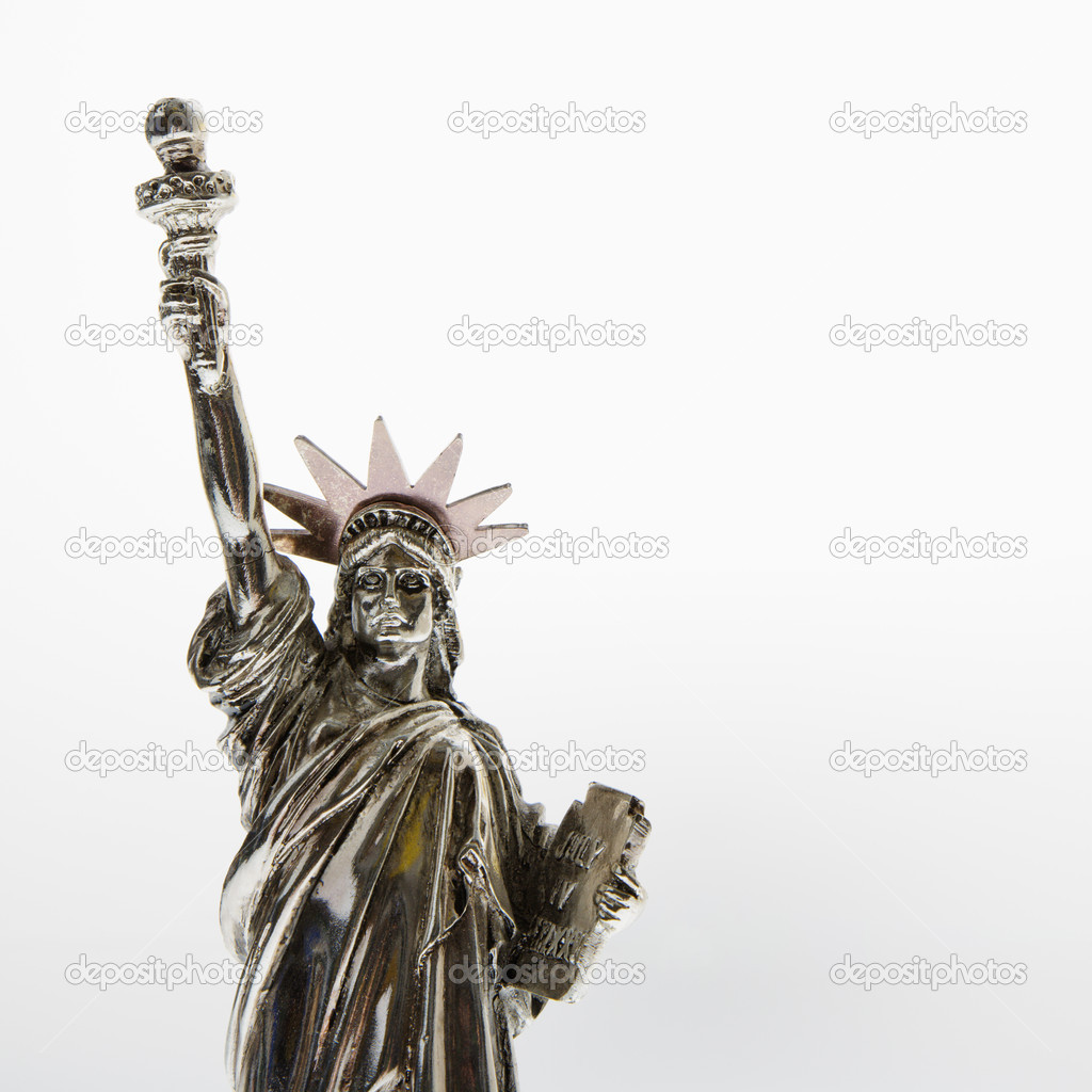 Statue of Liberty reproduction on white background. — Stock Photo #9300030