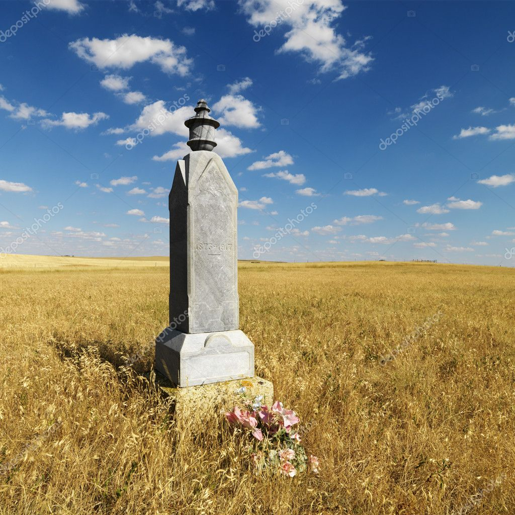 Stone burial  monument in field.  Stock Photo #9302380