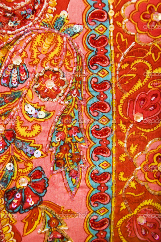 Detail of colorful patterned fabric.  Stock Photo #9306812