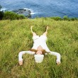 Woman relaxing in grass. — Stock Photo