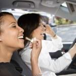 Women friends in car. — Stock Photo