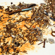 Table of old rusty screws and nails - Stock Photo