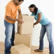 Couple packing boxes — Stock Photo