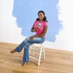 Female with paint brush. — Stock Photo #9312448