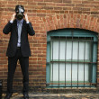 Businessman wearing gas mask. — Stock Photo #9312702