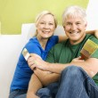 Man and woman relaxing while painting. — Stock Photo