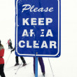 Ski caution sign. - Stock Photo