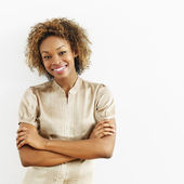 Gülümseyen mutlu kadın — Stok fotoğraf