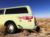 Car with Flames Parked in Desert — Stock Photo