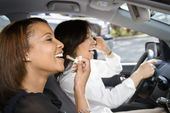 Women friends in car. — Stock Photo