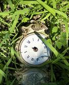 Antiguo reloj roto en pasto. — Foto de Stock