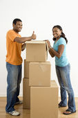 Couple packing boxes. — Stock Photo