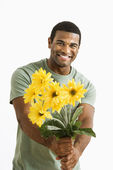 Man with bouquet. — Stock Photo