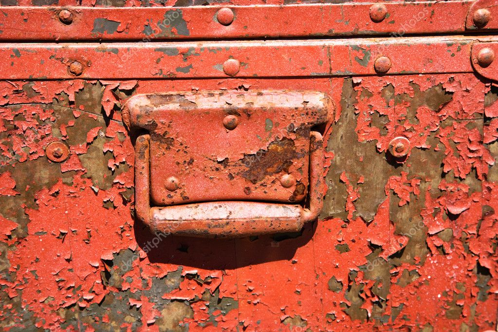 Old orange weathered metal storage container. — ストック写真 #9312010