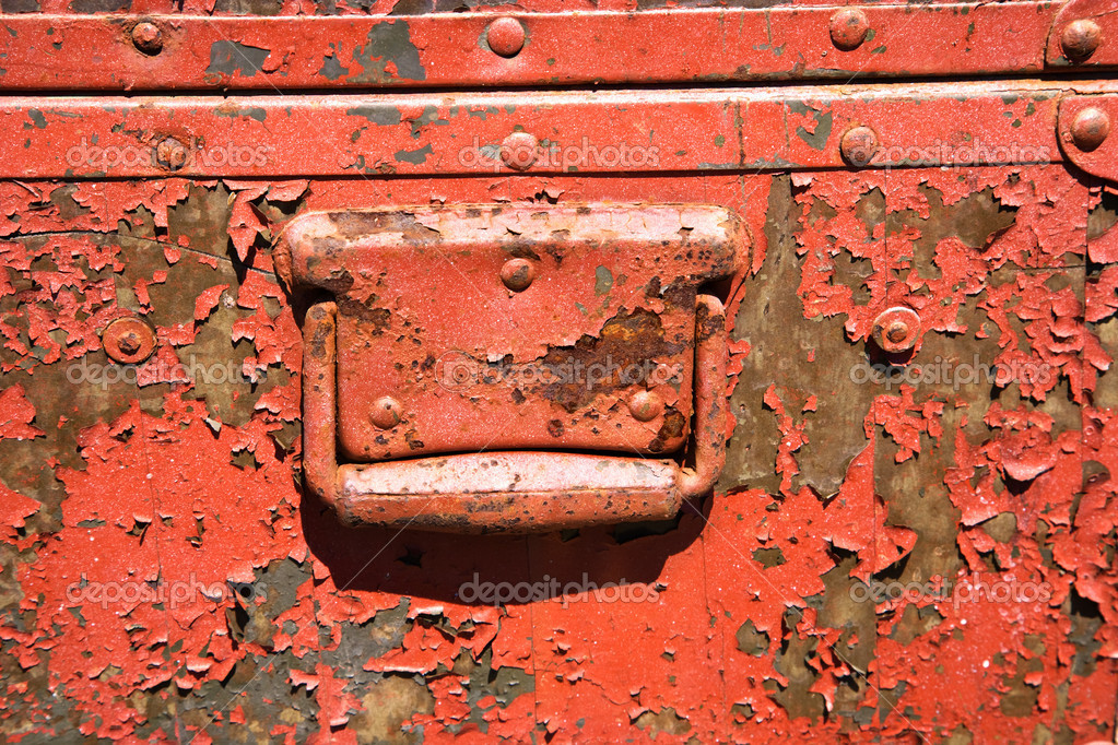 Old orange weathered metal storage container.  Foto Stock #9312010