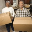 Senior Couple With Moving Boxes — Stock fotografie