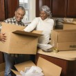 Stock Photo: Couple packing boxes.