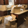 Stock Photo: Moving boxes in kitchen.