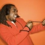 Man pulling cord. — Stock Photo