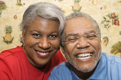 Mature couple smiling. — Stock Photo