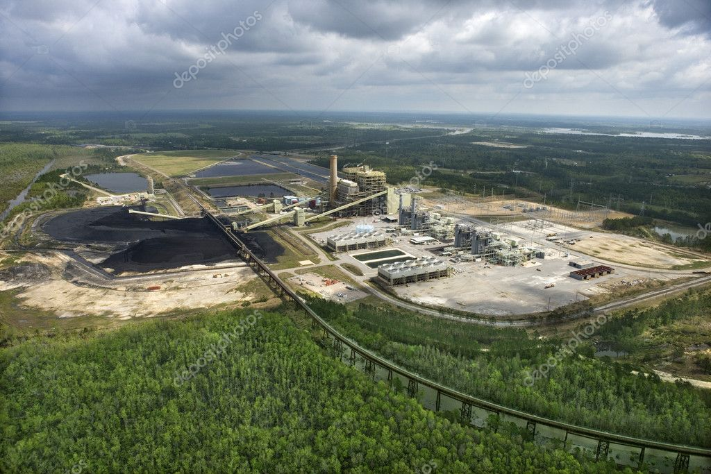 Aerial view of factory with coal in Mississippi. — Stock Photo #9329182