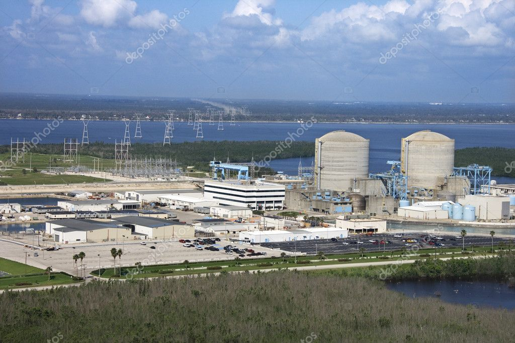 Aerial view of nuclear power plant on Hutchinson Island, Florida. — Stock Photo #9329194