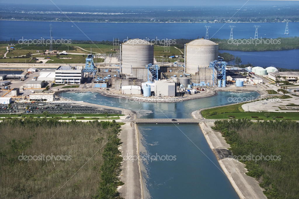 Aerial view of nuclear power plant on Hutchinson Island, Florida. — Stock Photo #9329195
