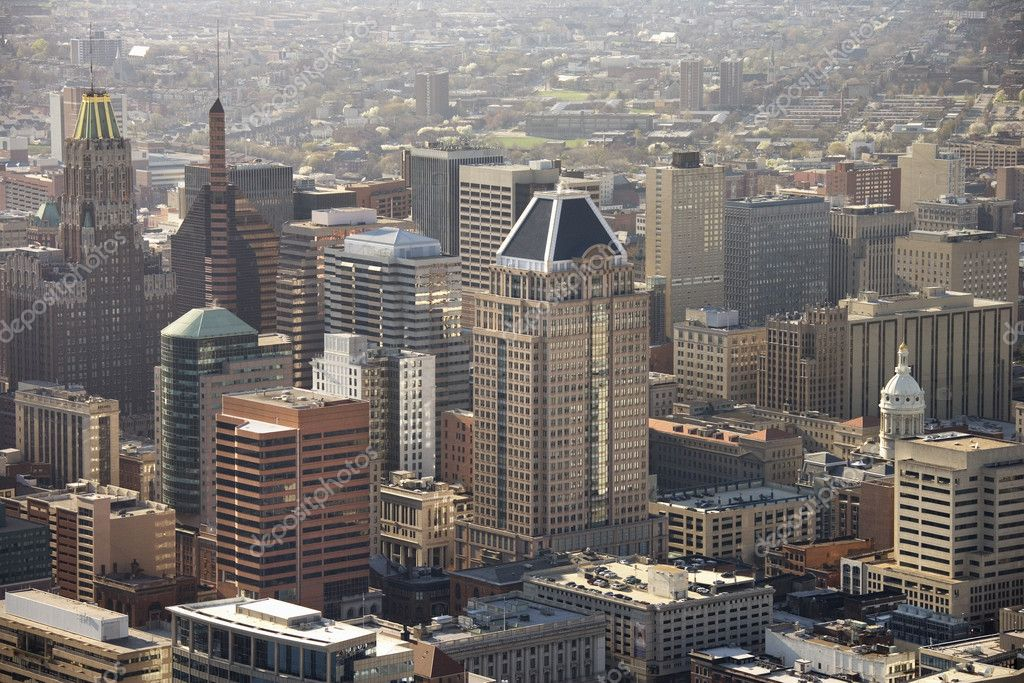 Aerial view of skyscrapers in Baltimore, Maryland. — Stock Photo #9329230