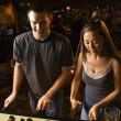 Stock Photo: Couple playing foosball.