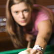 Young Woman Playing Billiards — Stock Photo