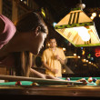 Young Woman Shooting Pool — ストック写真