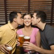 Two Men Kissing Young Woman — Stock Photo