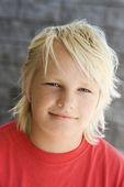 Blonde boy smiling. — Stock Photo