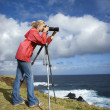Stock Photo: Womphotographing scenery.