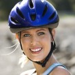 Young woman on bicycle. - Stock fotografie