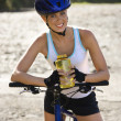 Young woman biking. - Foto de Stock  