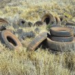 Royalty-Free Stock Photo: Abandoned tires in field.
