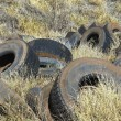 Tires dumped in field. — Stock Photo