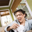 Young Sick Woman Sneezing - Stock Photo