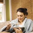 Young Woman Eating Soup — Stock Photo